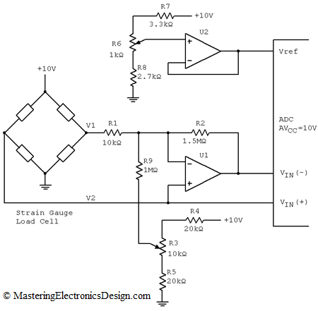 Wheatstone Bridge Measurement Schematic