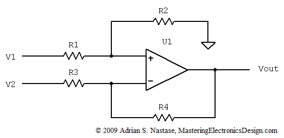 converting a differential amplifier into a summing