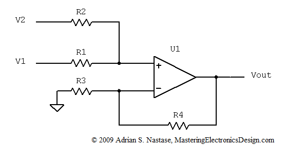 how to derive the summing amplifier transfer function  u2013 mastering electronics design