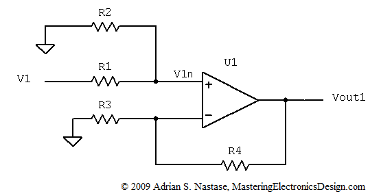how to derive the summing amplifier transfer function
