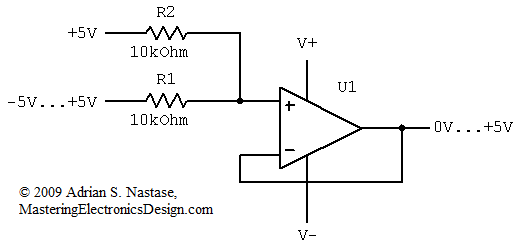 OP   1 moreover Index282 likewise Passive tone control circuit 6919 further Design A Bipolar To Unipolar Converter furthermore 1723. on unipolar voltage amplifier op amp circuit