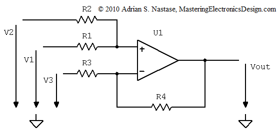 A Summing and Differential Amplifier with One Op Amp – Mastering ...