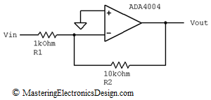 Inverting op amp with ADA4004