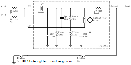 summing amplifier with ADA4004 SPICE model