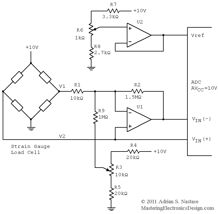 measure a wheatstone bridge sensor signal with an adc \u2013 mastering