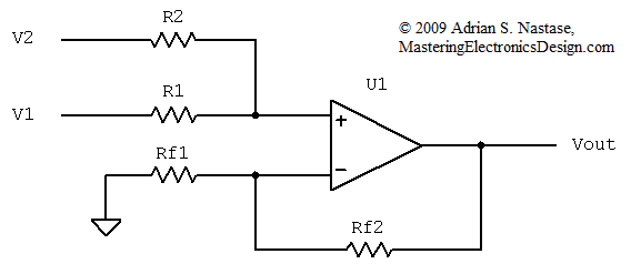 the transfer function of the non inverting summing amplifier with u201cn rh masteringelectronicsdesign com