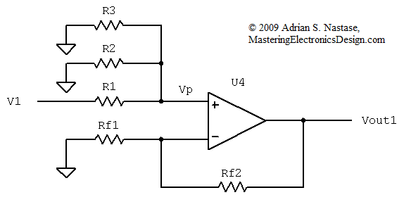 Summing Amplifier Circuit Diagram | The Transfer Function Of The Non Inverting Summing Amplifier With N
